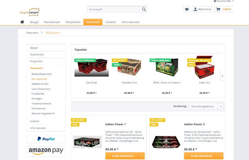 Webshop für Feuerwerk, Rauchartikel und Bengalos